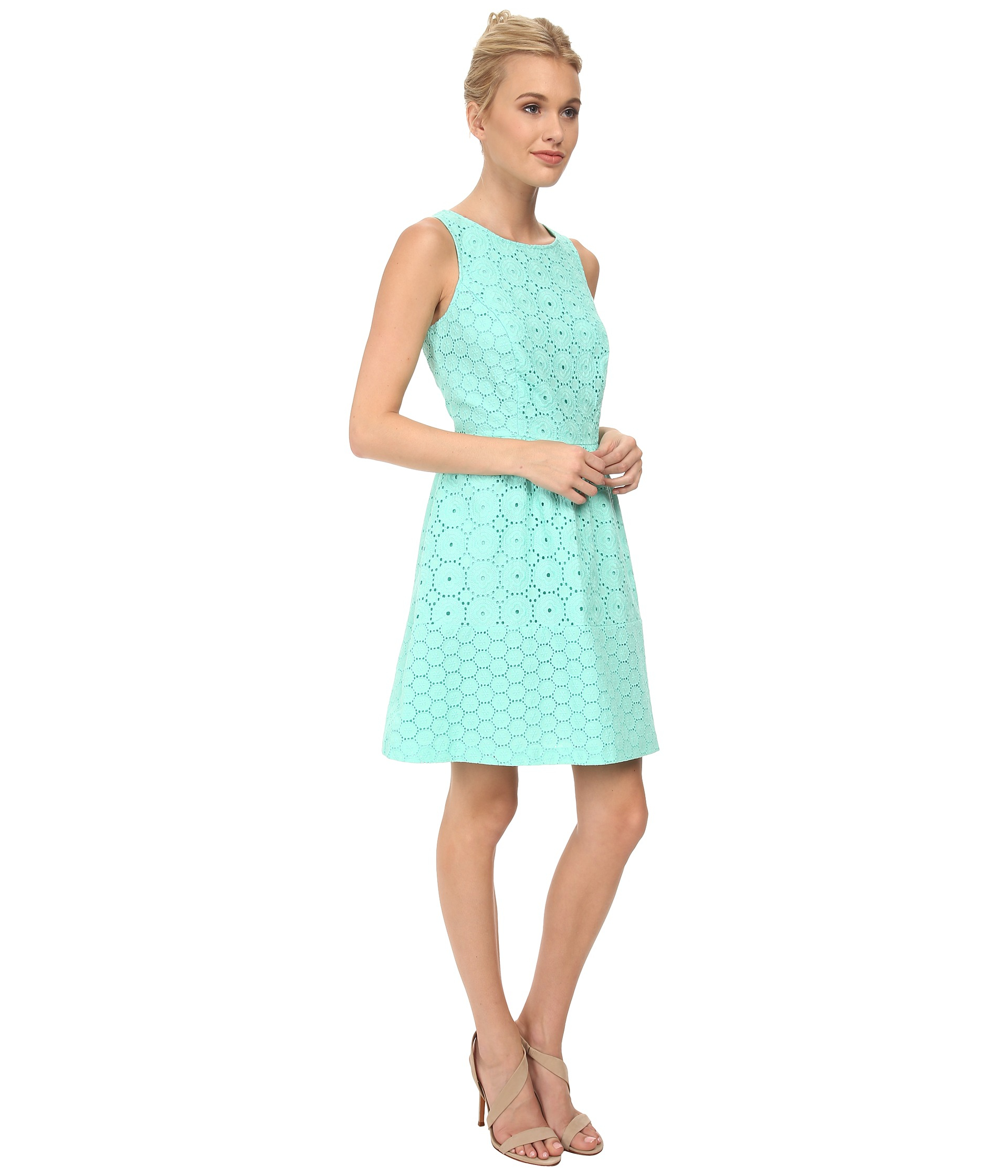 46255b97435 Kensie Embroidered Eyelet Dress Ks3K7463 in Green - Lyst
