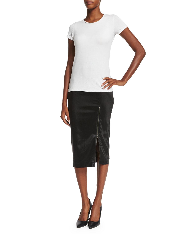atm sparkle zip pencil skirt in black lyst