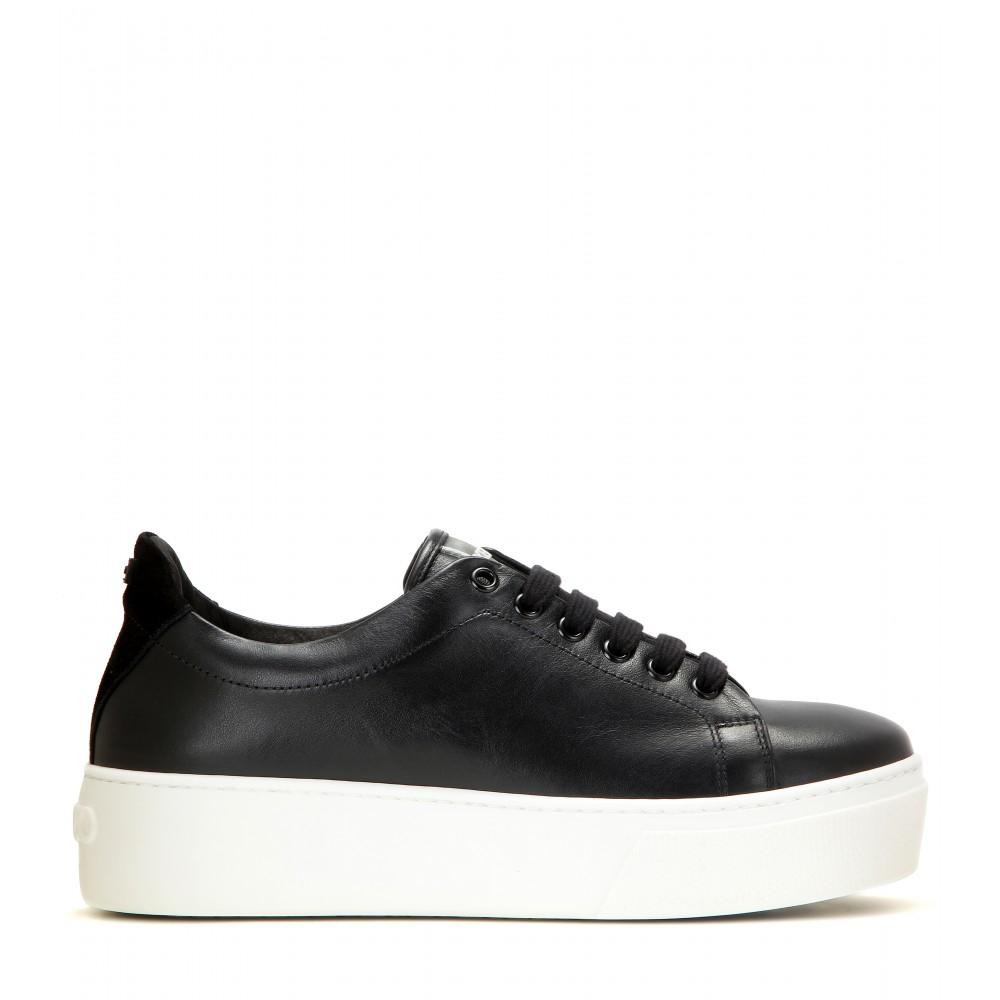 kenzo platform leather sneakers in black lyst