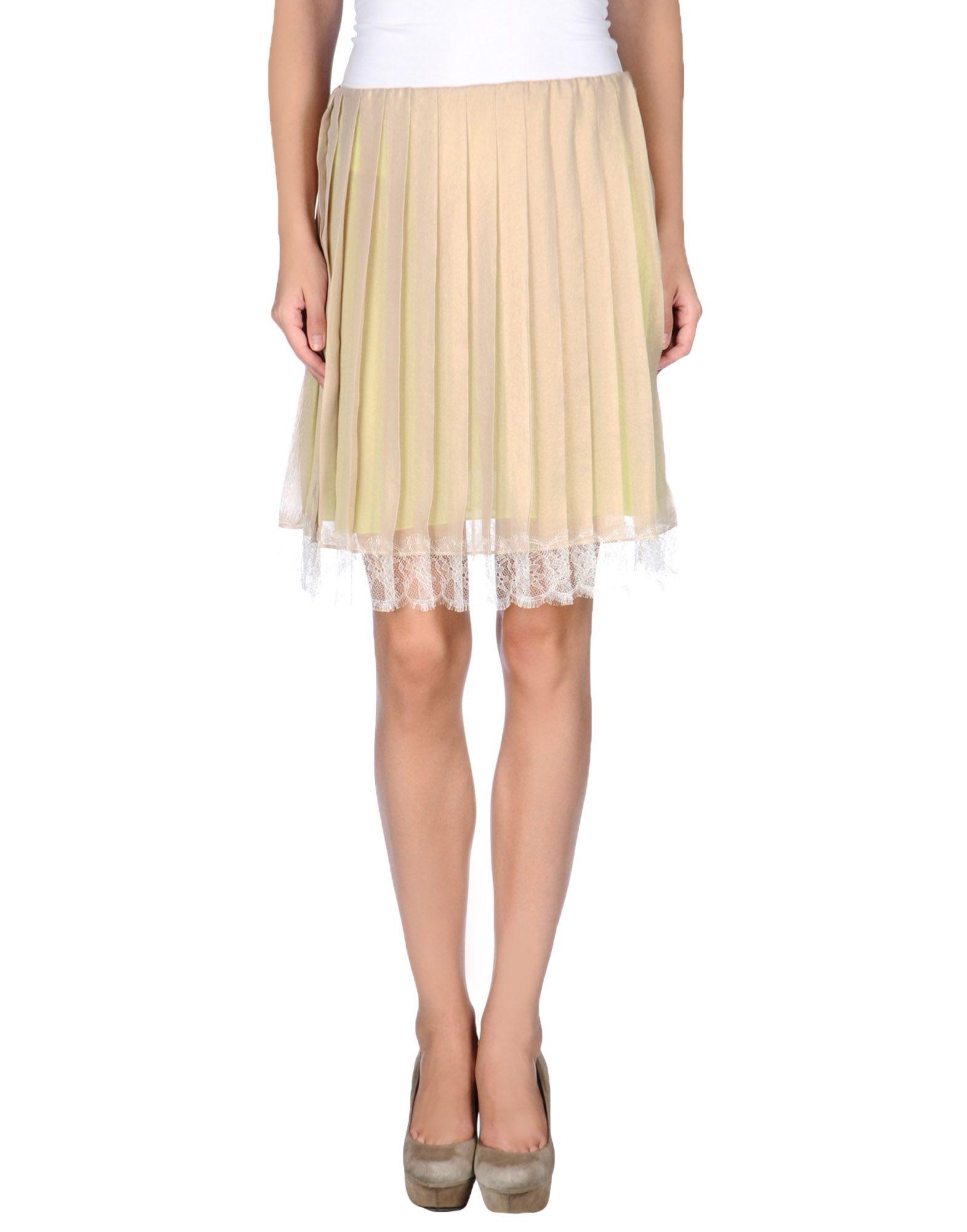 khaki knee length skirt