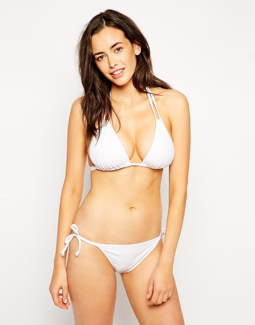 Asos Fuller Bust Exclusive Soft Triangle Bikini Top Dd-g in White ...