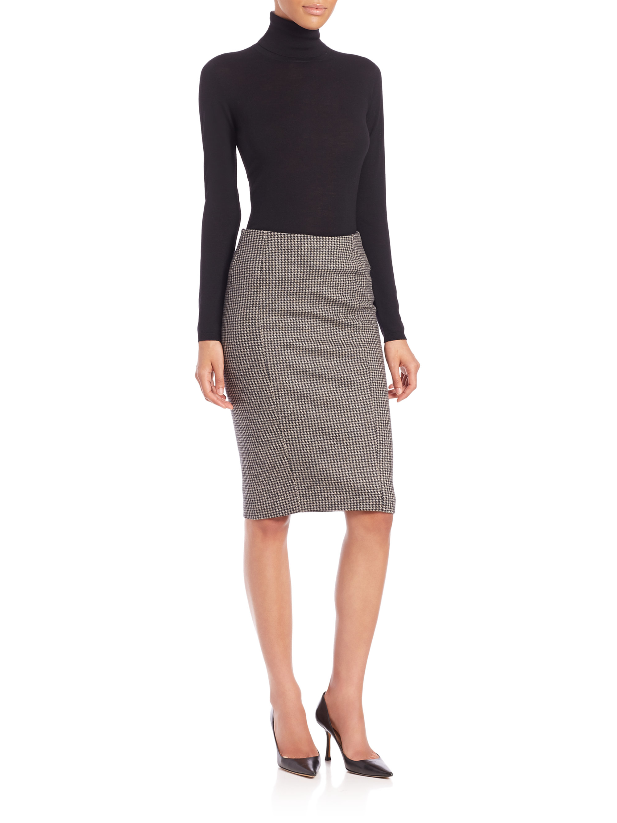 max mara mida houndstooth pencil skirt in brown