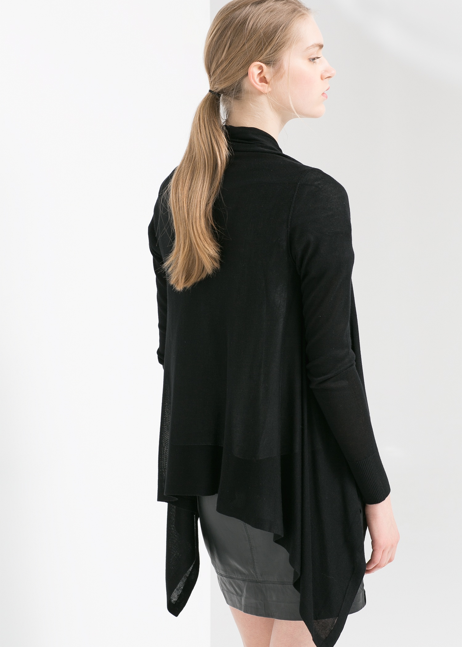 Mango Waterfall Cardigan in Black | Lyst