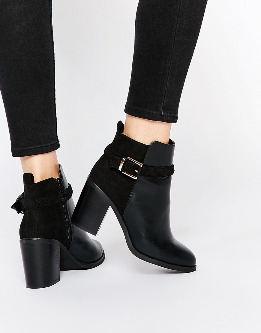 f6e6cddf7d8 Miss Kg Swift Black Block Heel Ankle Boot With Straps in Black - Lyst