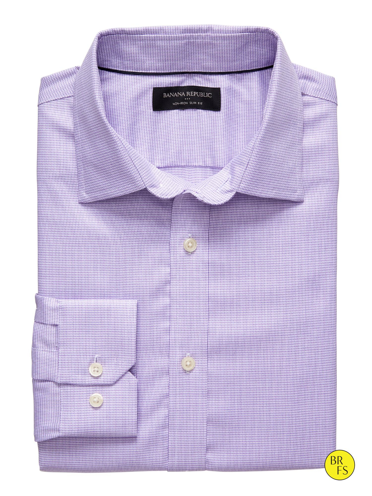 Banana republic factory slim fit non iron purple print for Slim fit non iron dress shirts