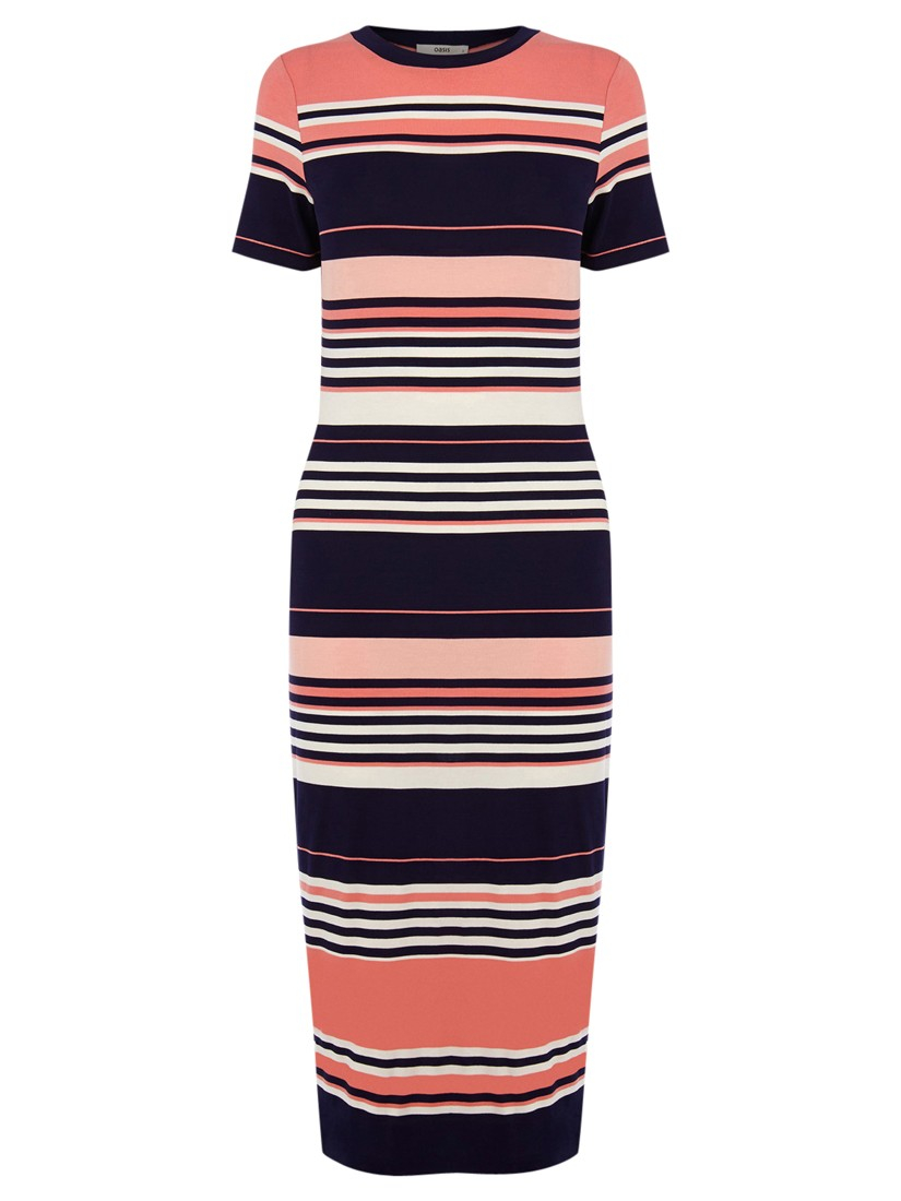 433ee1dfca Oasis Candy Stripe Tube Dress in Pink - Lyst