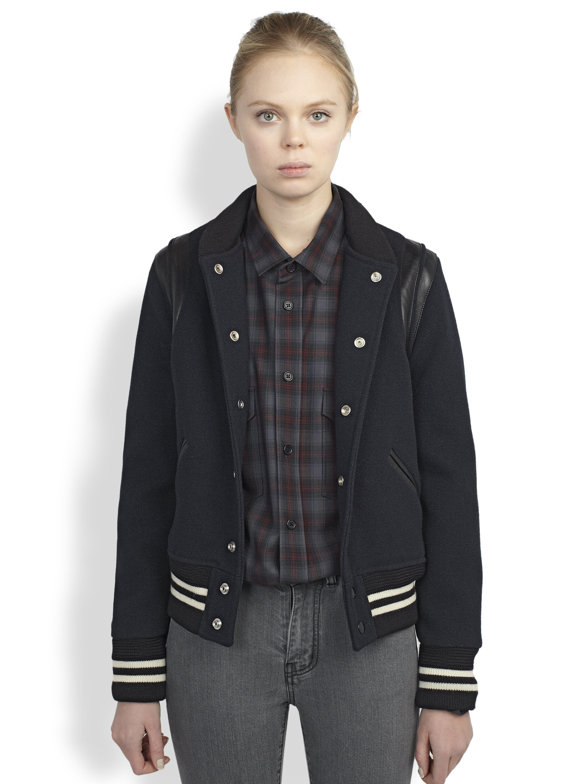 Saint laurent Teddy Leather-Trimmed Wool Varsity Jacket in Blue | Lyst