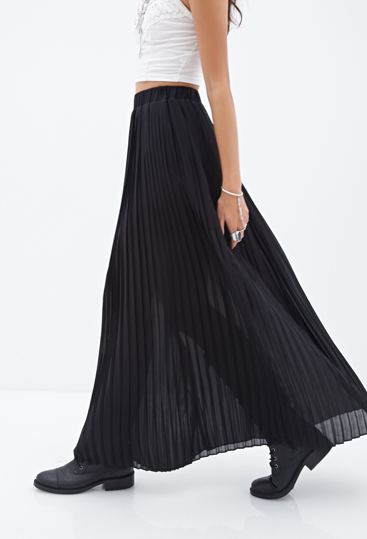 forever 21 pleated chiffon maxi skirt in black lyst