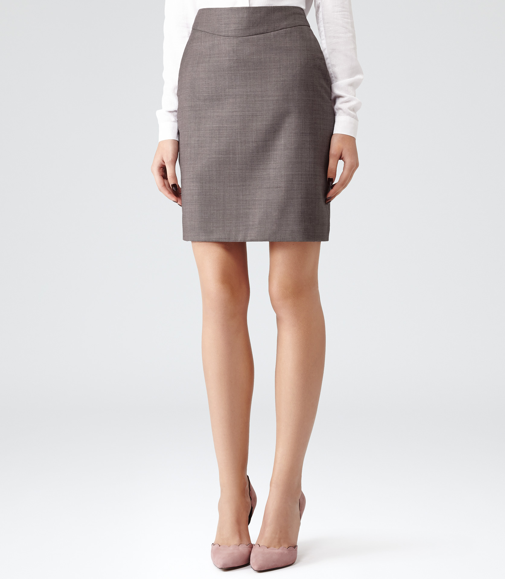 Reiss Ginger Fitted A-Line Skirt in Gray | Lyst