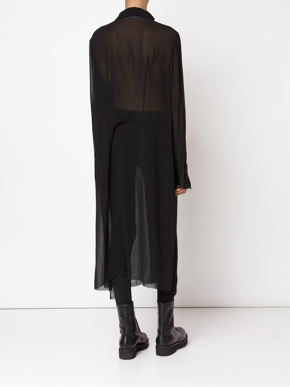 Rundholz Long Sheer Shirt Dress in Black   Lyst