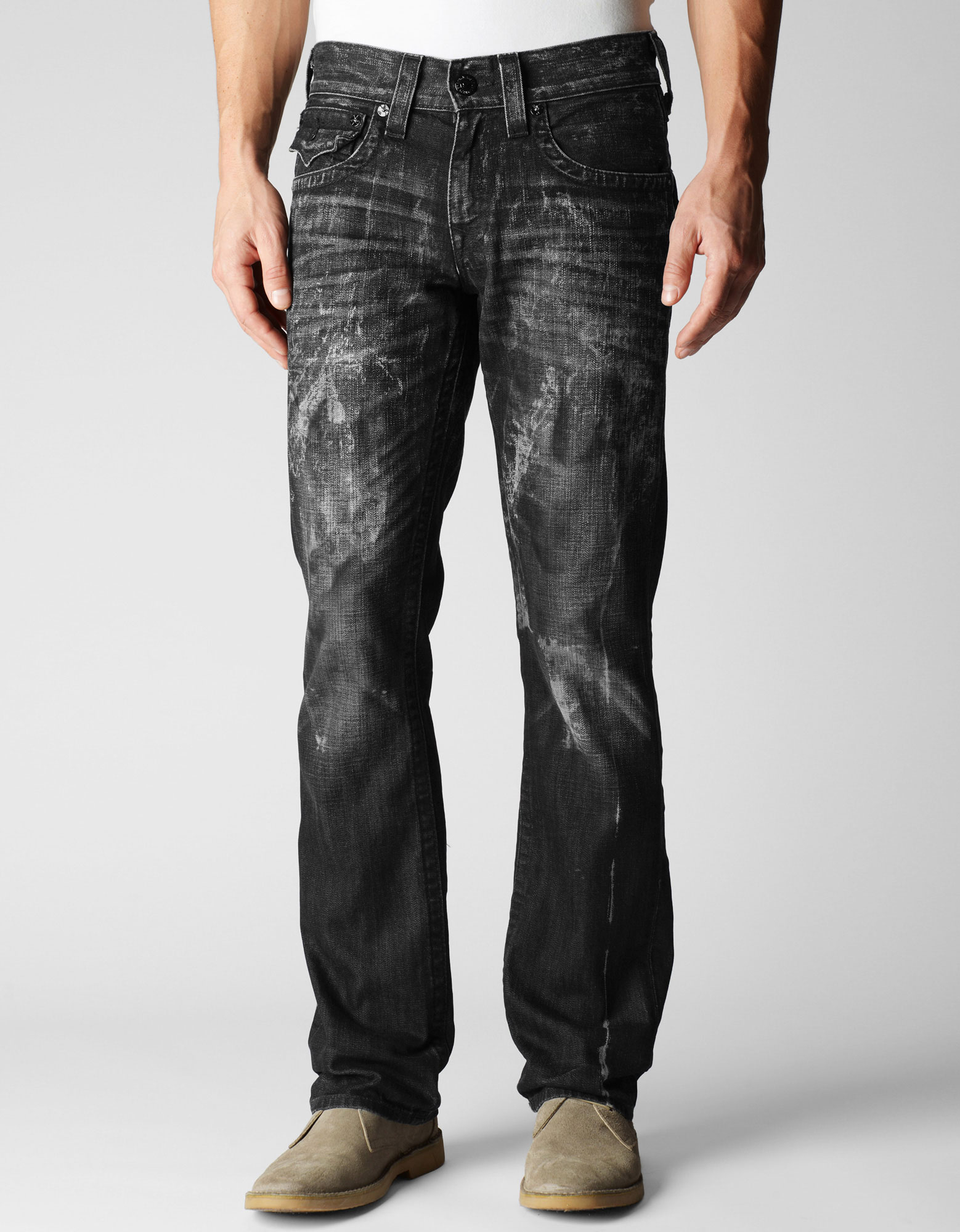 True Religion Ricky Straight Distressed Black Mens Jean in ...