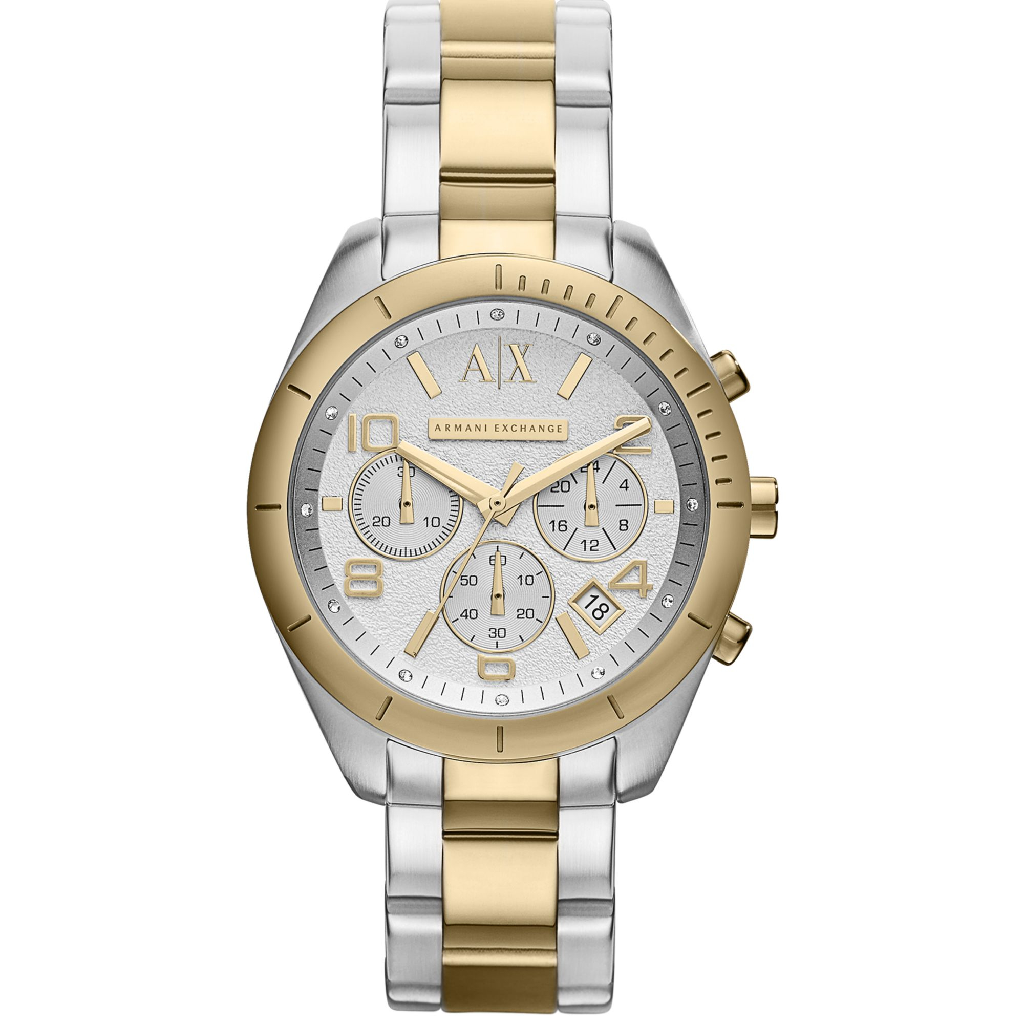 armani exchange womens chronograph twotone stainless steel