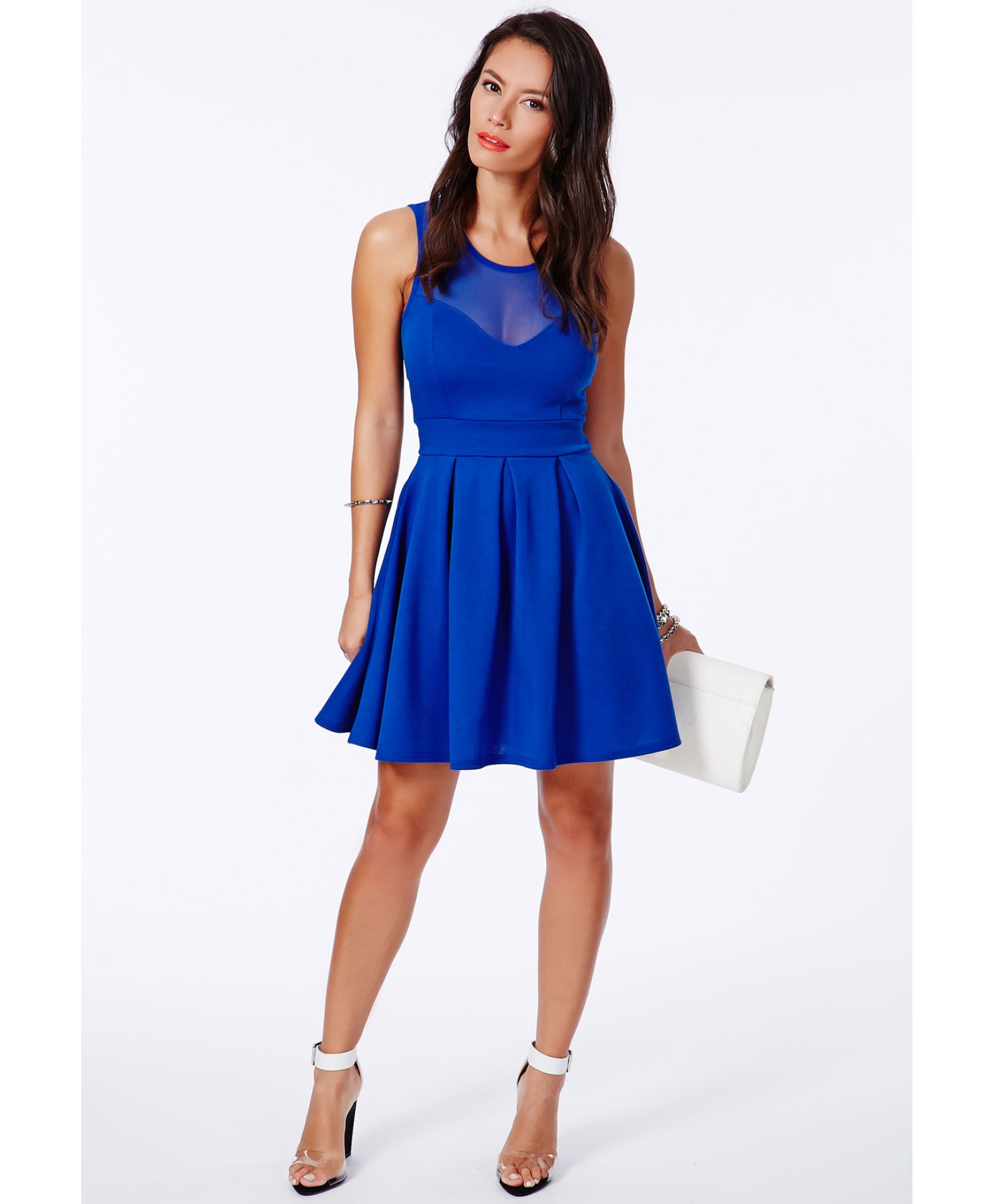 missguided colette cobalt blue skater dress with mesh