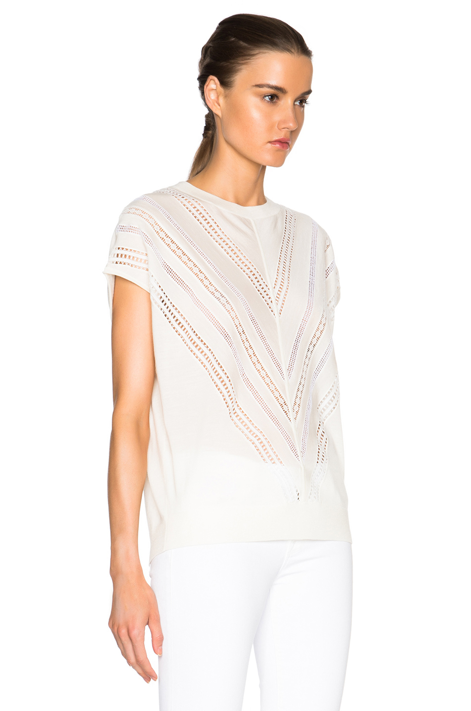 Lyst adam lippes embroidered muscle tee in white for Adam lippes women s long sleeve vee t shirt