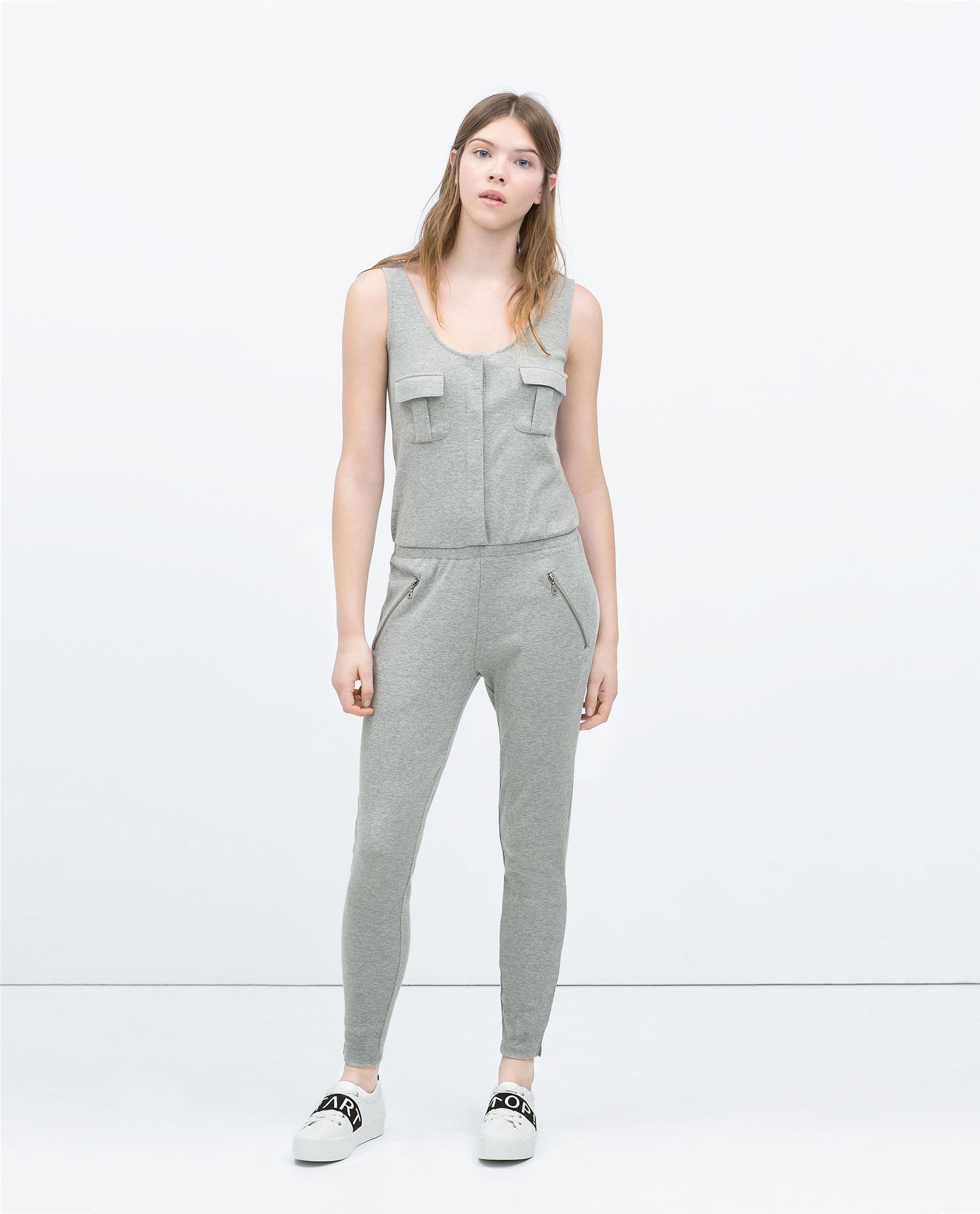 7fb3542eca Zara Ribbed Jumpsuit In Gray