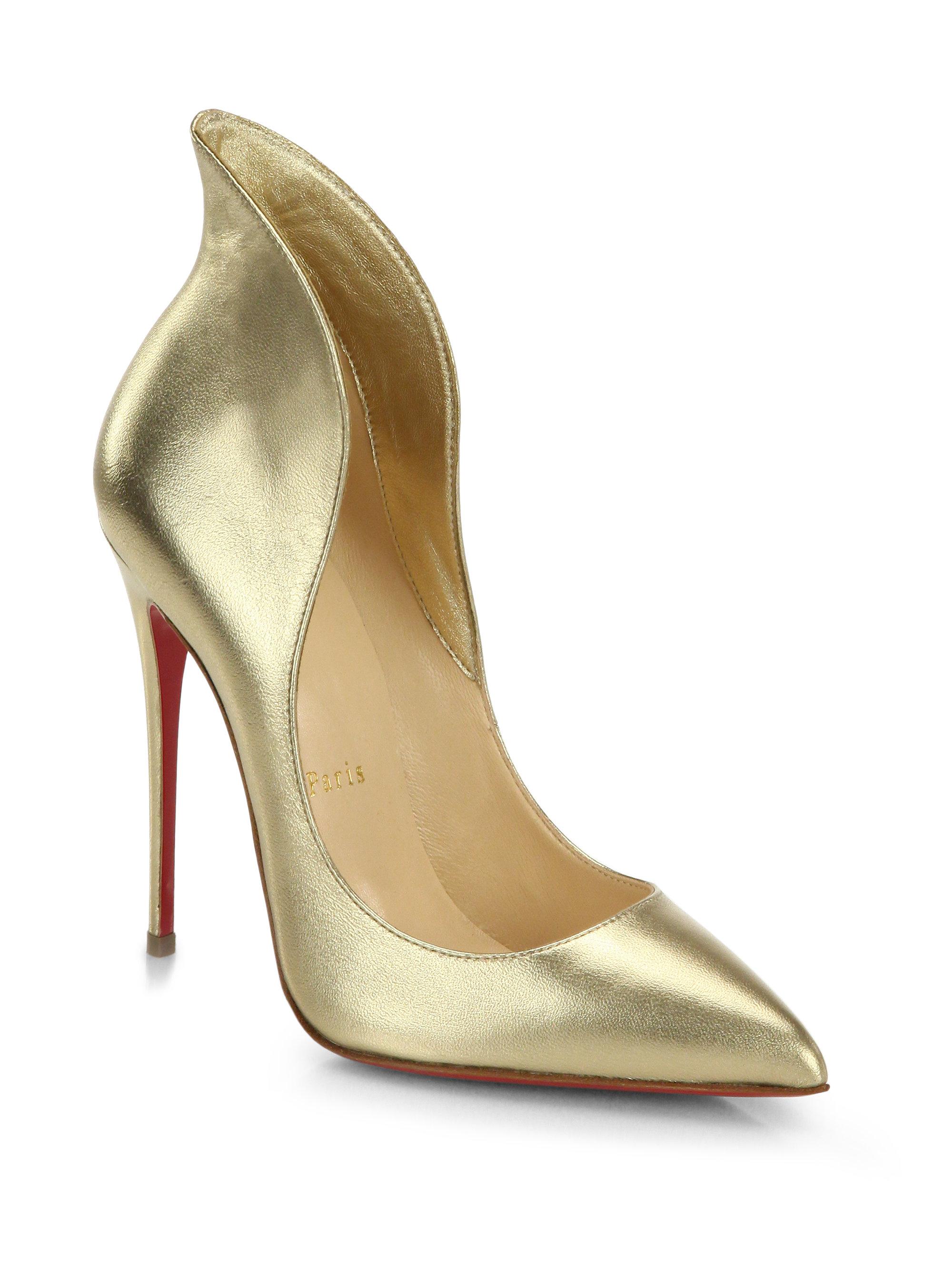 christian louboutin sandals Black suede gold metallic leather trim ...