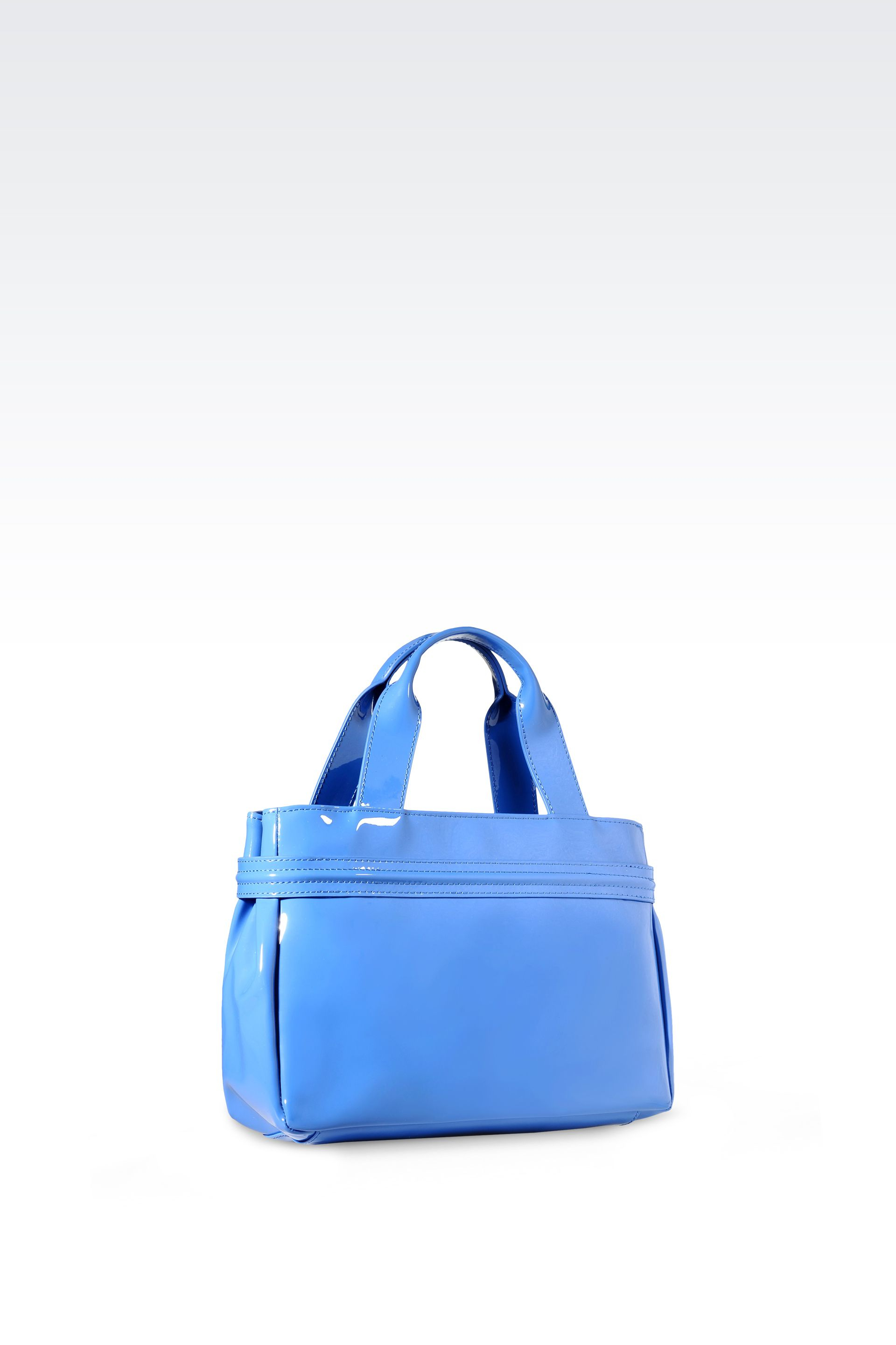 a619c9476097 Lyst - Armani Jeans Mini Shopping Bag In Patent Faux Leather With ...