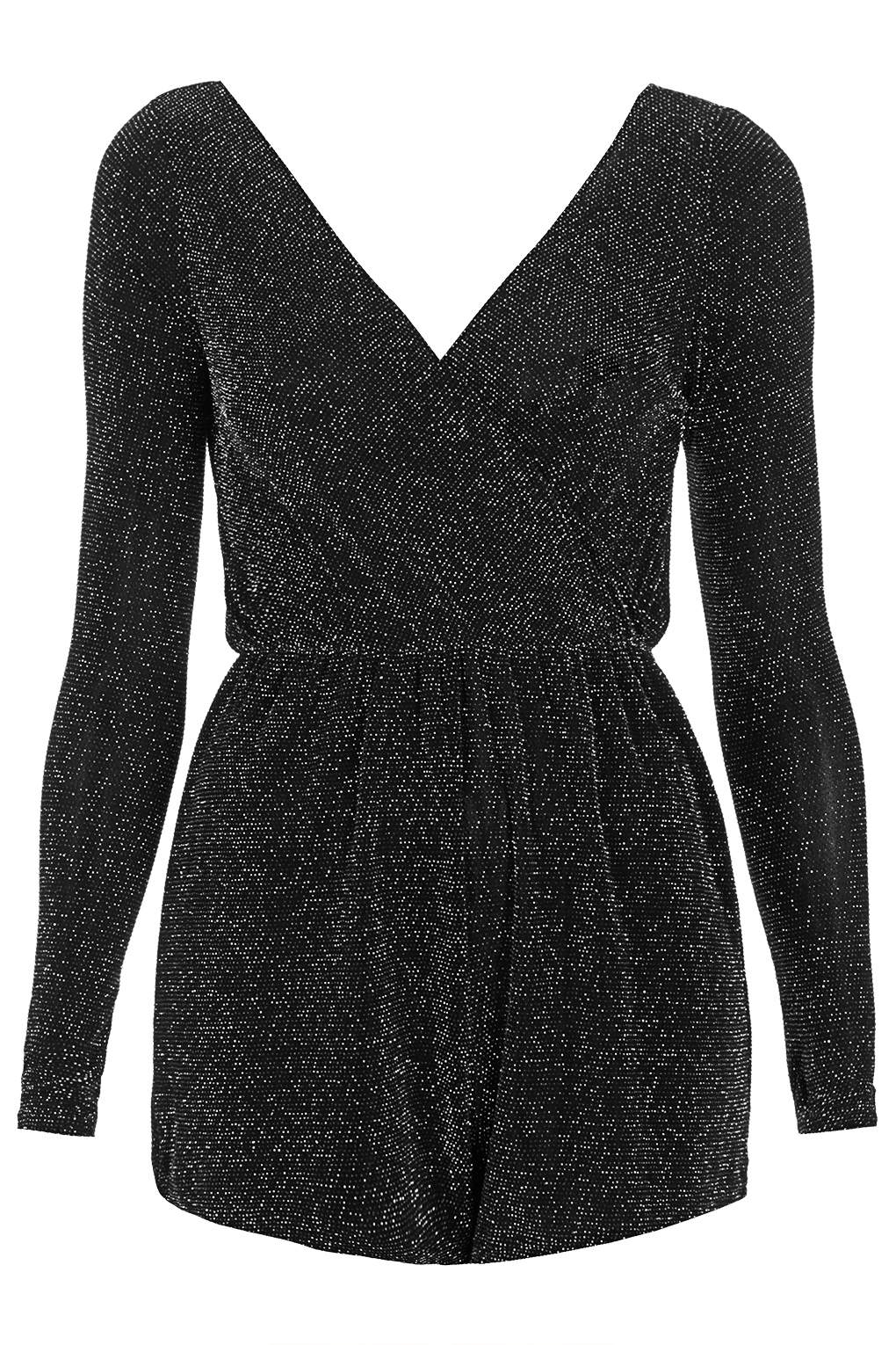 bf768a4bfc7 TOPSHOP Lurex Long Sleeve Wrap Playsuit By Oh My Love in Black - Lyst