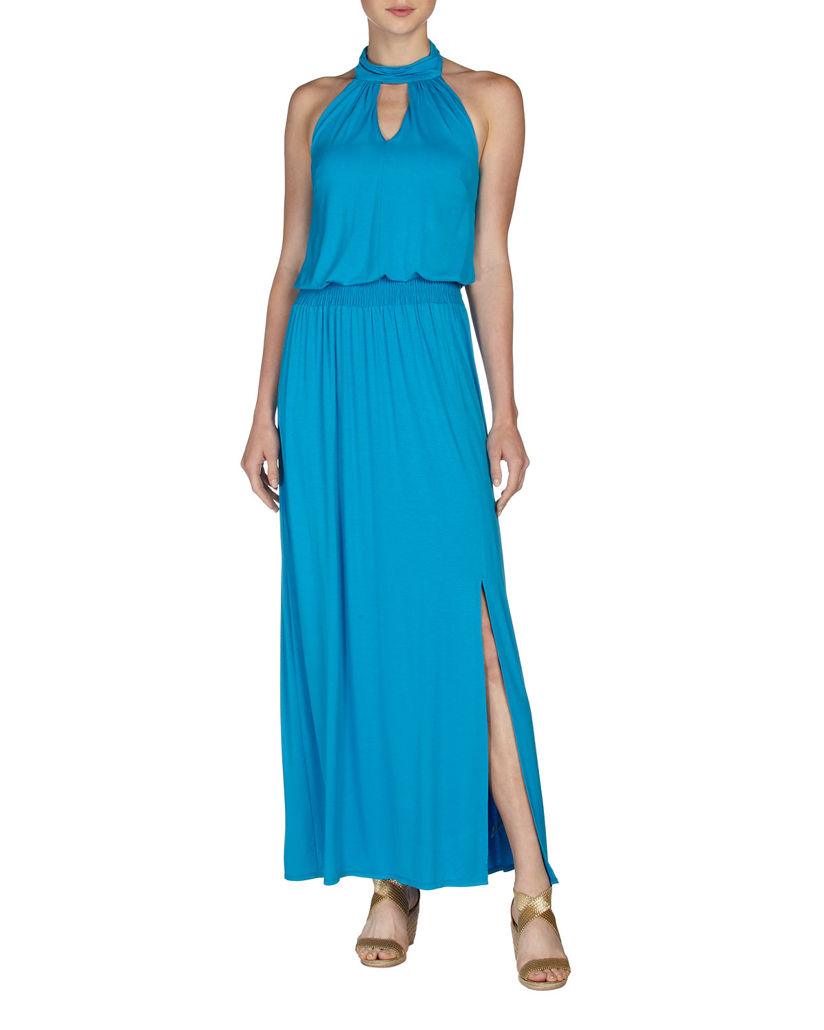 laundry by shelli segal lyst laundry by shelli segal halter maxi dress true blue 12096
