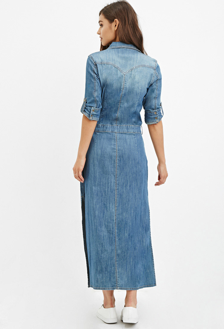 Lyst Forever 21 Denim Maxi Shirt Dress In Blue
