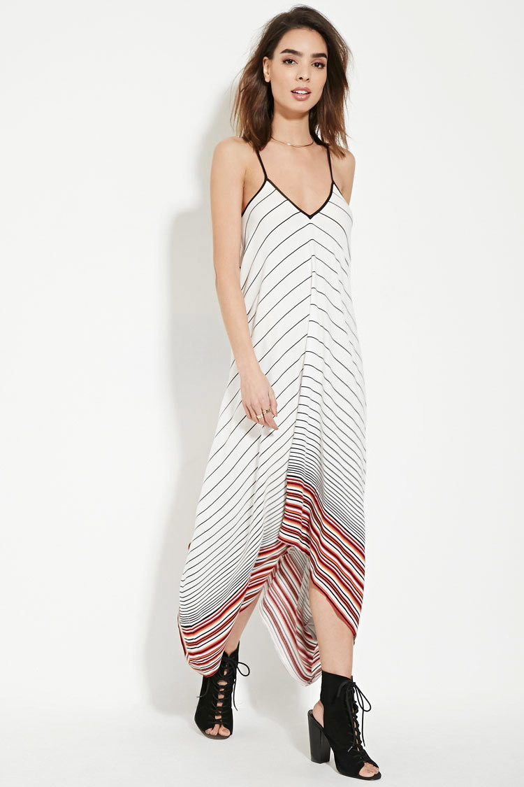 forever 21 contemporary stripe maxi dress in white lyst