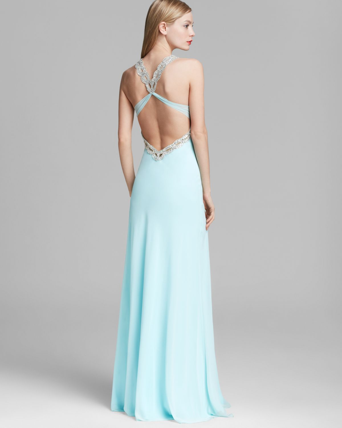 Lyst - Faviana Couture Gown - V Neck Beaded Open Back in Blue