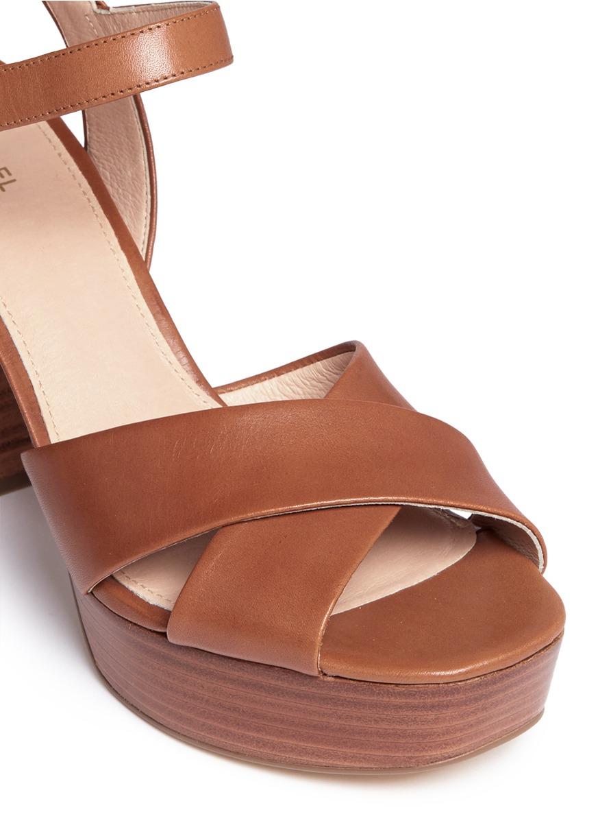 f70136b9694 Lyst - Michael Kors  divia  Leather Platform Sandals in Brown