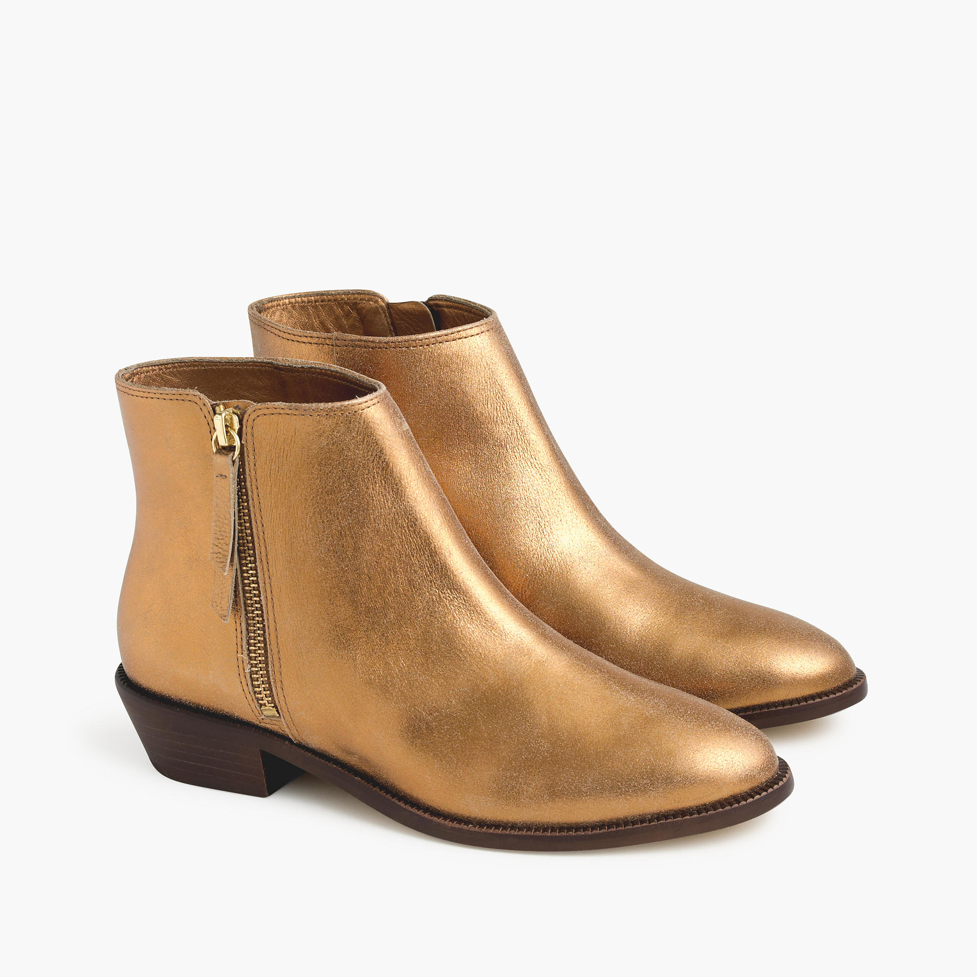 J.crew Frankie Ankle Boots In Dark Gold in Metallic | Lyst