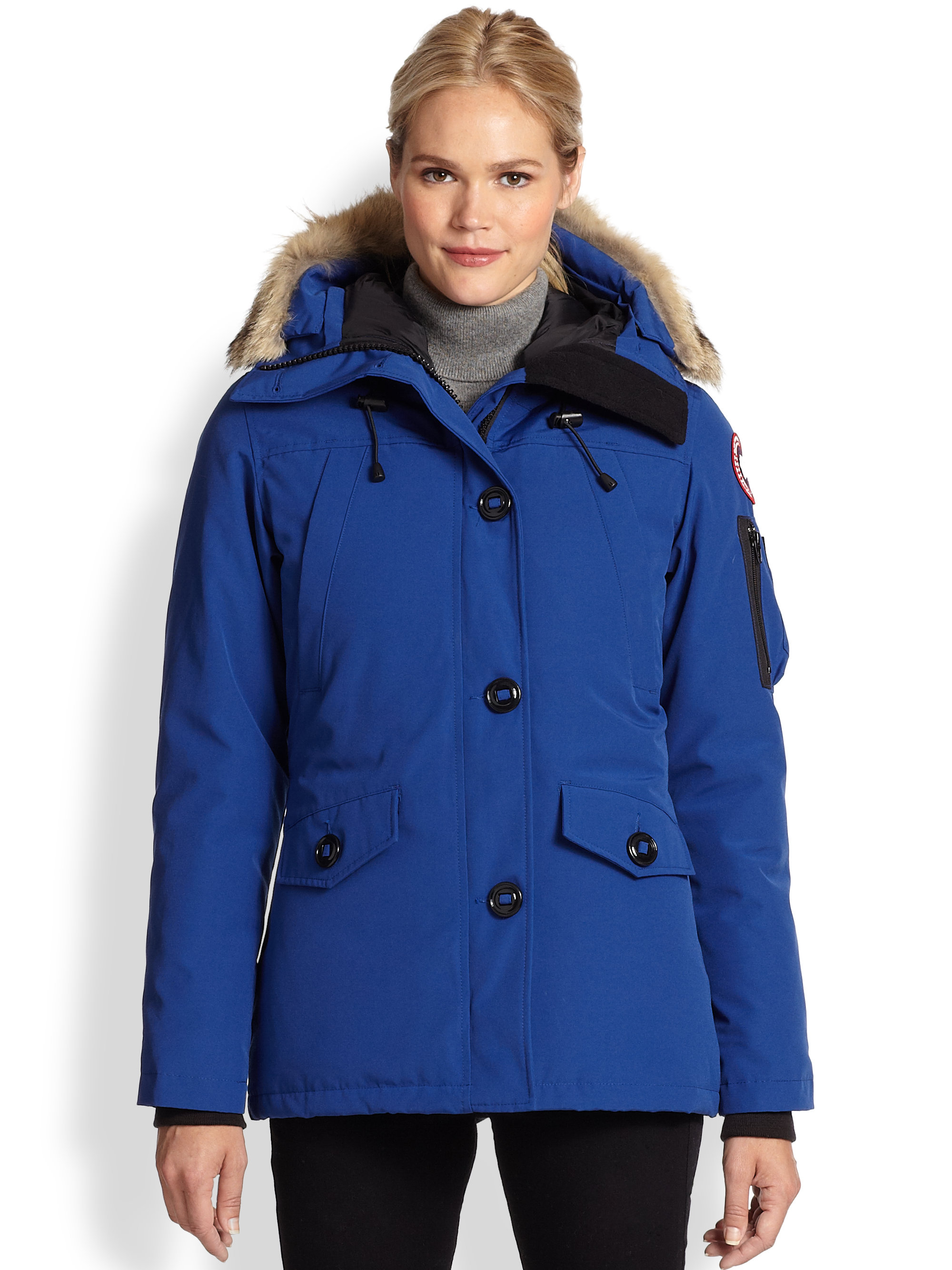 Canada Goose womens outlet store - Canada goose Fur-trimmed Montebello Parka in Blue (PACIFIC BLUE ...