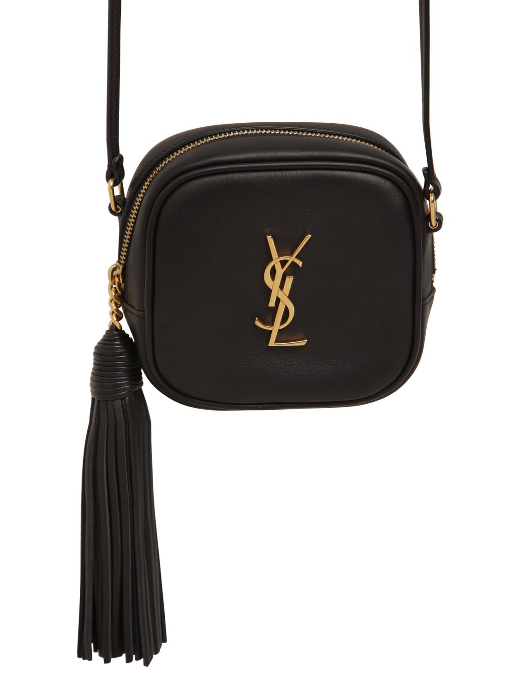 Lyst - Saint Laurent Monogram Leather Shoulder Bag W  Tassel in Black 4cb3a87b00