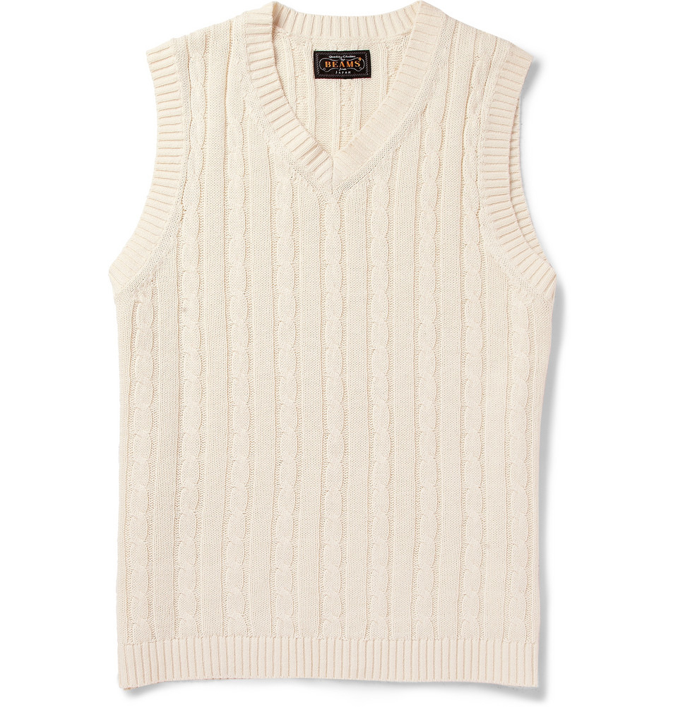 Lyst Beams Plus Cableknit Linen And Cottonblend Sleeveless Sweater