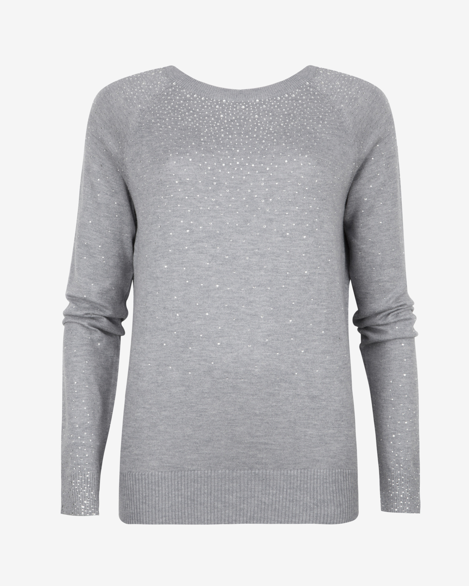ff310bbf5477d Ted Baker Crystal Stud Sweater in Gray - Lyst