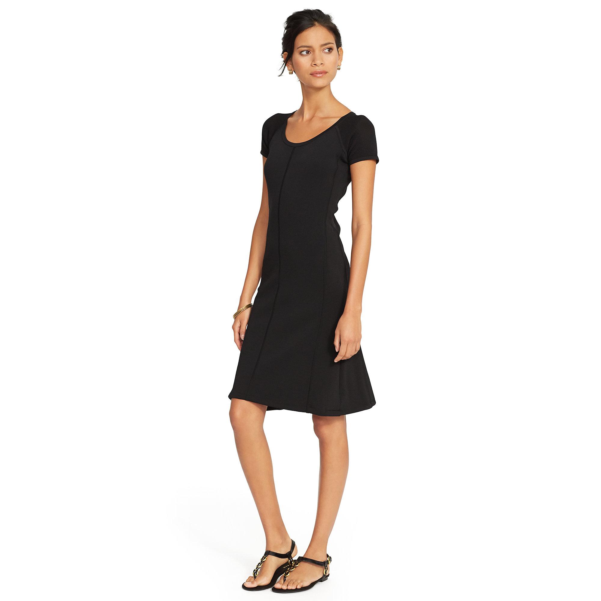 ralph lauren paneled cap sleeved dress in black lyst. Black Bedroom Furniture Sets. Home Design Ideas