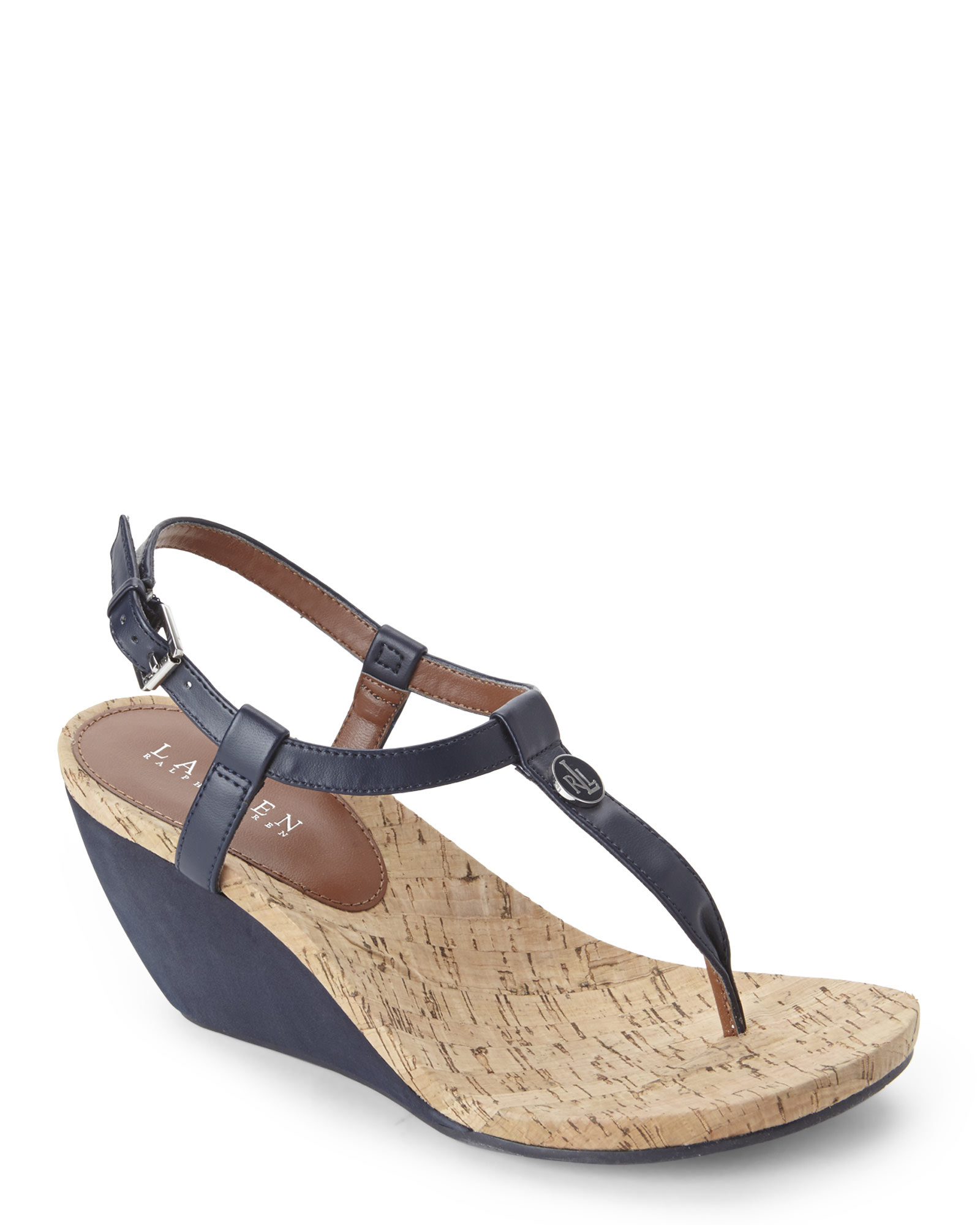 9ffbd0403582 Lyst - Ralph Lauren Reeta Wedge Thong Sandals in Blue