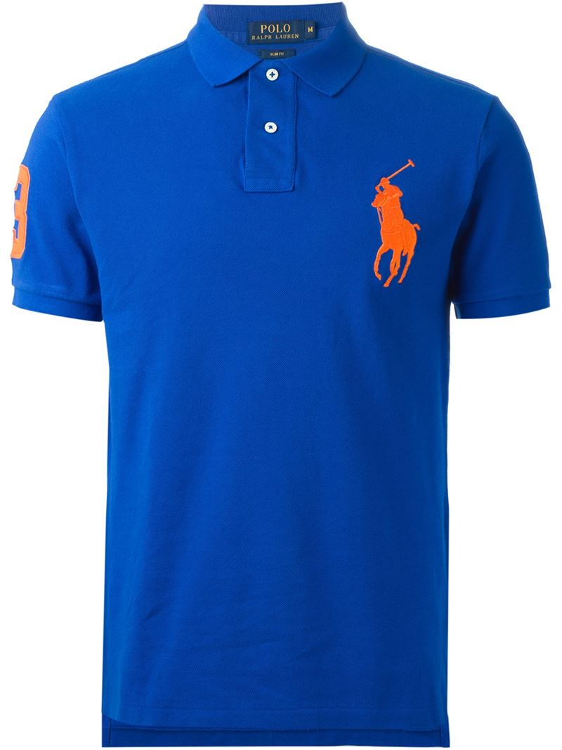 Lyst polo ralph lauren 39 big pony 39 polo shirt in blue for men for Big blue t shirts
