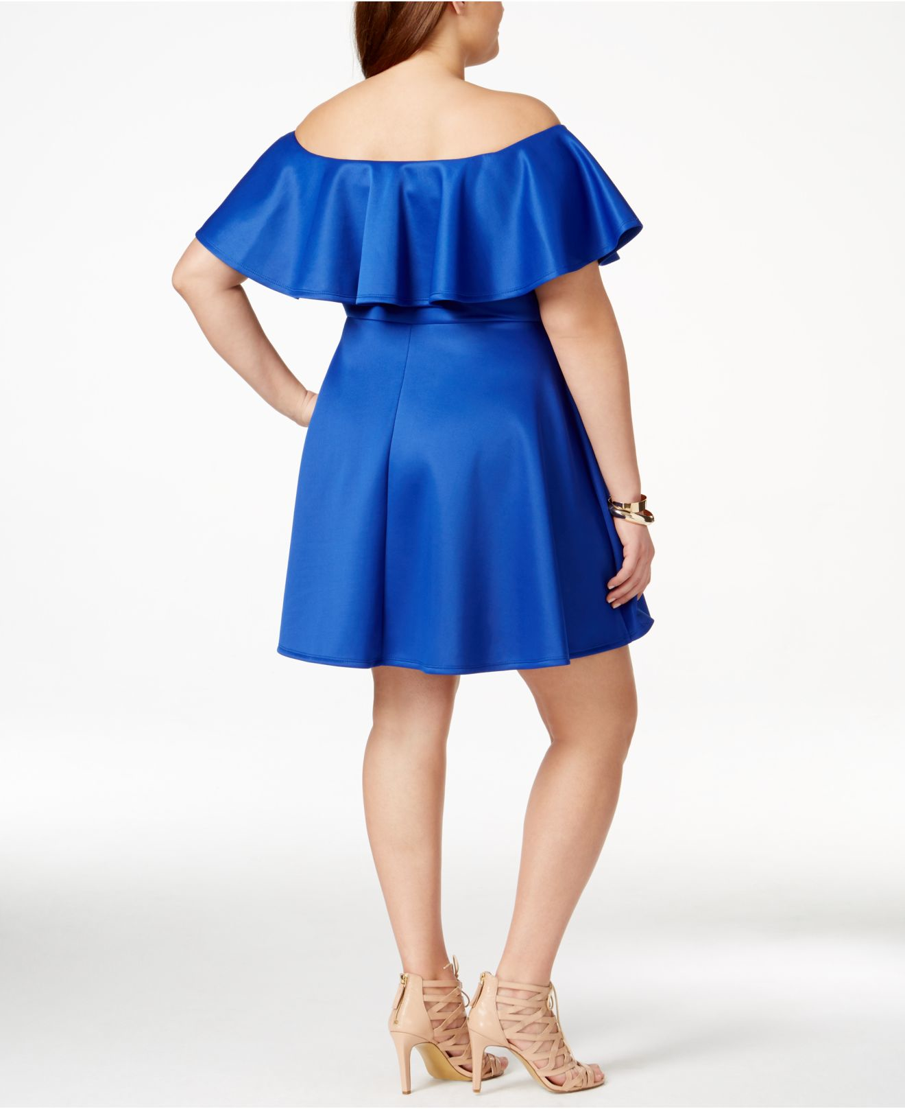 14cf54b1105 Lyst - Soprano Plus Size Ruffled Off-the-shoulder Dress in Blue