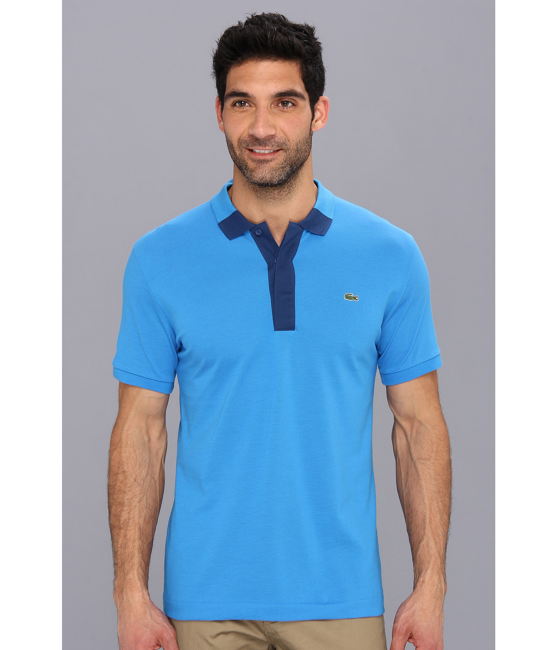 Lacoste Short Sleeve Hidden Placket Color Block Mini Pique