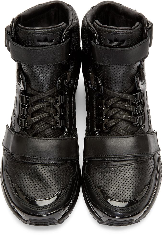 Juun J Black Leather High Top Adidas By Sneakers In Black