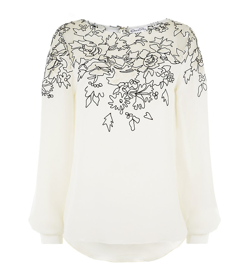 e52bc0570d361 Oscar De La Renta Silk Lace Embroidered Top in White - Lyst