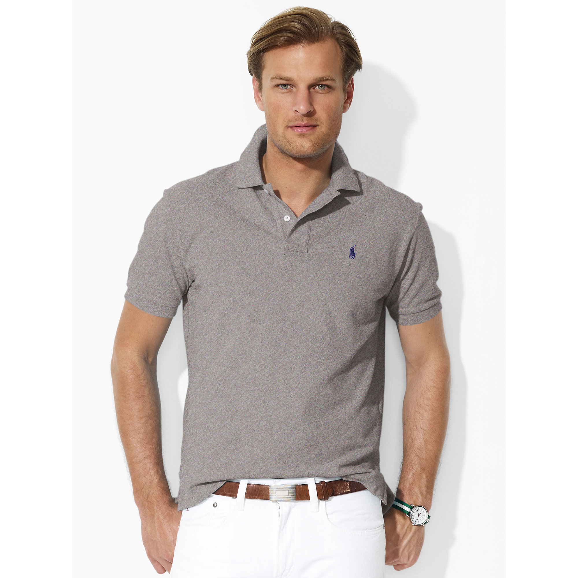 a085c0d3 ... canada lyst polo ralph lauren classic fit mesh polo in gray for men  268d1 351ca