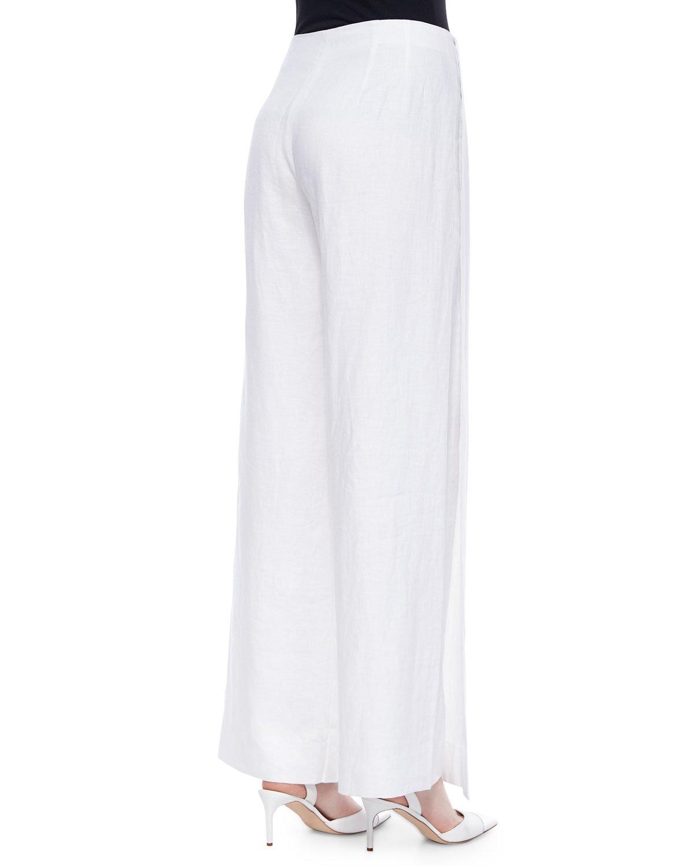 Lafayette 148 new york Lined Wide-leg Linen Pants in White | Lyst