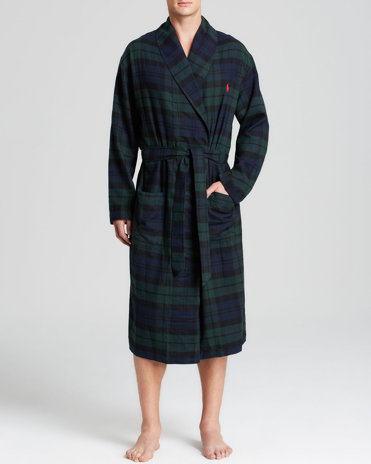best service new style & luxury promotion Ralph Lauren Blue Blackwatch Flannel Robe for men
