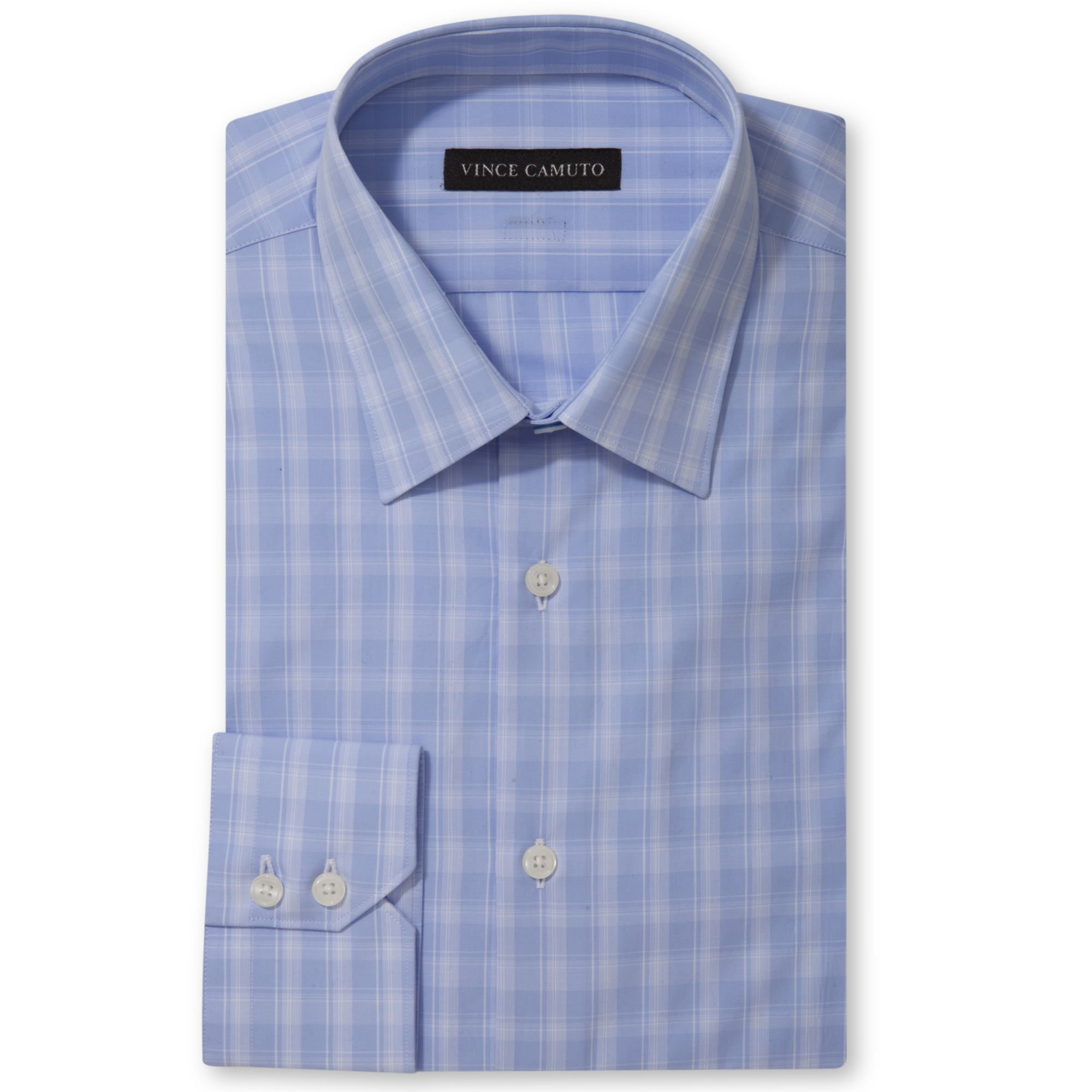 Vince camuto modern fit blue and white check dress shirt for Modern fit dress shirt