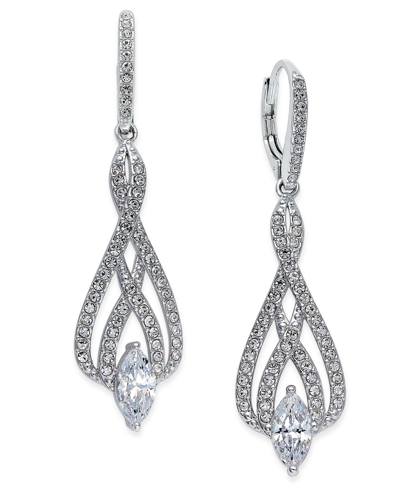 danori eliot silver tone marquise and pave drop