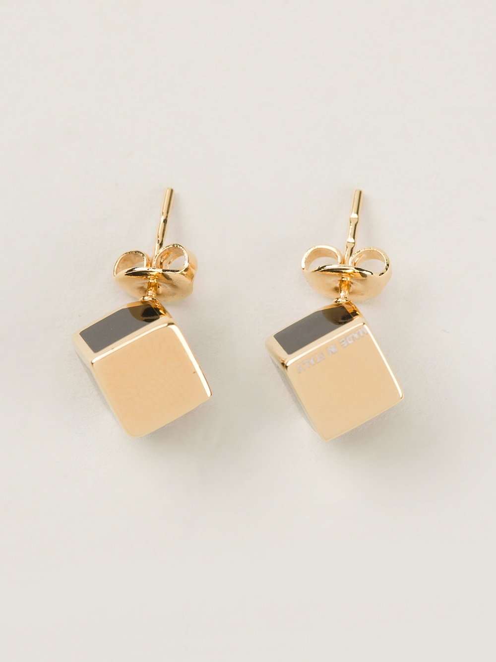 Lyst Fendi Sta Cube Earrings In Metallic