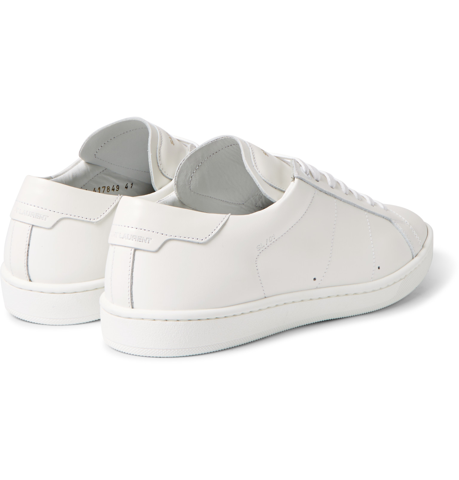 lyst saint laurent sl01 court classic leather sneakers in white for men. Black Bedroom Furniture Sets. Home Design Ideas