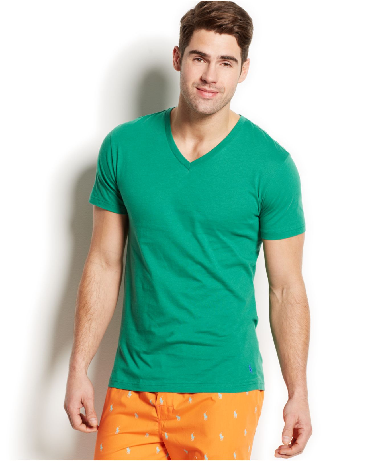 Polo Ralph Lauren Jersey V Neck T Shirt In Green For Men