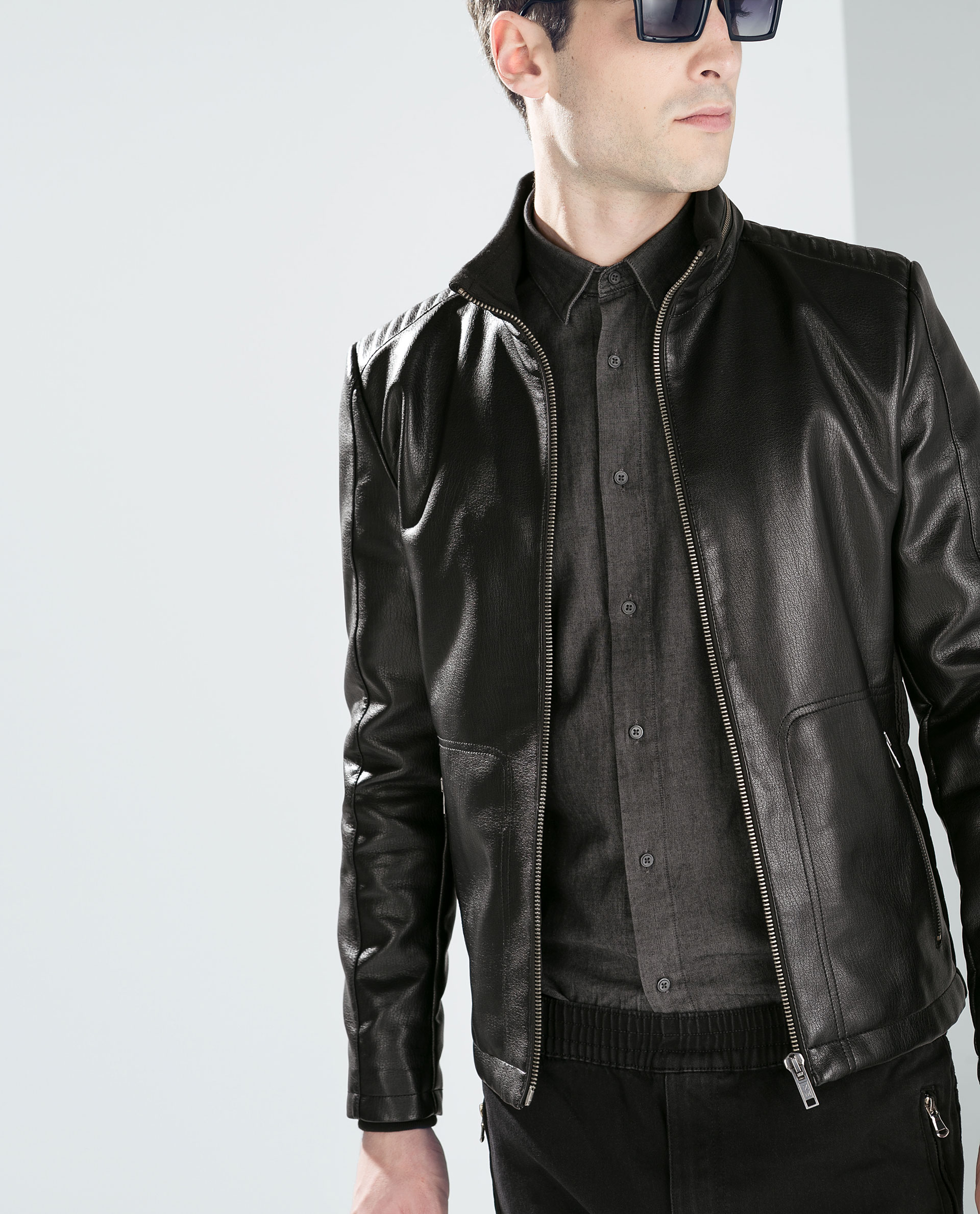 Black Faux Leather Jacket - Jacket