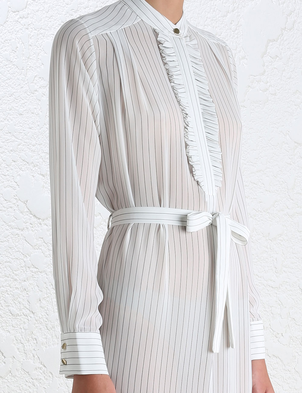Zimmermann pinstripe tuxedo shirt dress in white lyst for Tuxedo shirt covered placket