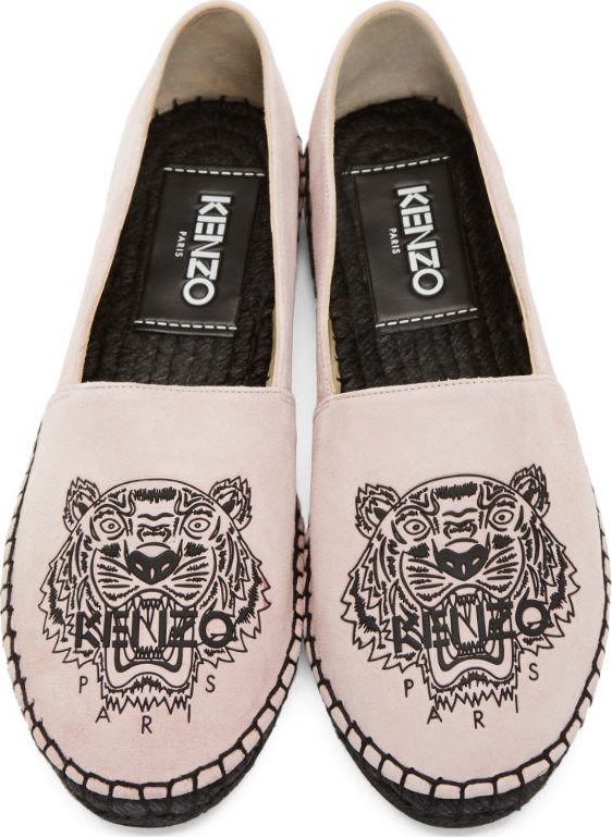 Lyst Kenzo Pink Suede Tiger Espadrilles In Pink